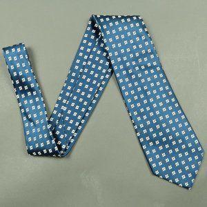 Charvet Navy Blue Silver Geometric Silk Tie